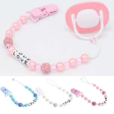 Bling Crystal Pacifier Clips Baby Soother Chain Dummy Soother Nipple Leash Strap