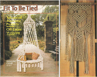 """Vintage 1977 Macrame Pattern Book""""fit To Be Tied""""11 Projects - Off Loom Weaving"""