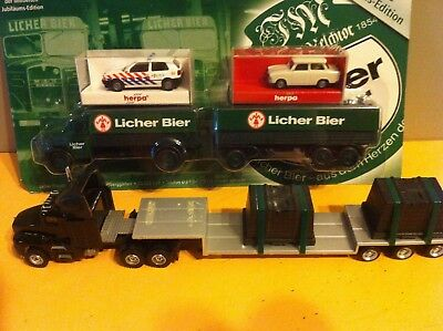 HO trucks with trailers and 2 Herpa cars, various brands ( #5 )