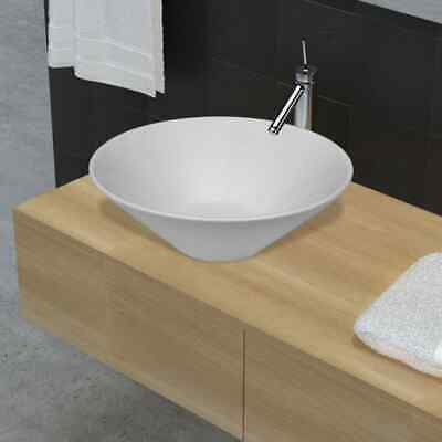 Bathroom Ceramic Basin Vessel Sink Wash Basin Round Shaped White 42 x 42 cm