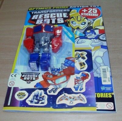 Transformers Rescue Bots magazine comic #9 2018 + Optimus Prime Action Toy