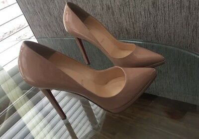 Authentic Christian Louboutin Pigalle Plato Nude 38.5