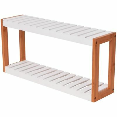 vidaXL Bathroom Standing Storage Shelf Side Rack 2 Tiers Bamboo 60x15x28.5 cm