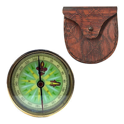 """Unidecor Nautical Vintage Marine 2"""" Brass Compass With Leather Case"""