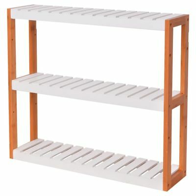 vidaXL Bathroom Standing Storage Shelf Side Rack Bamboo 3 Tiers 60x15x54 cm