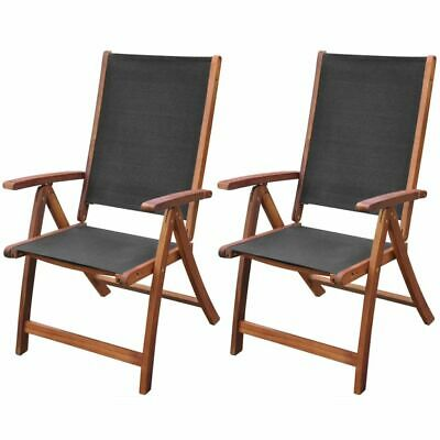 2 Folding Chairs Acacia Wood Indoor Outdoor Garden Terrace Camping Furniture