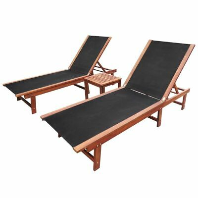 vidaXL Sun Lounger Set 3 Piece Acacia Wood Recliner Day Bed Outdoor Furniture