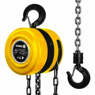 VOREL Chain Block Hoist Lifting 3000 kg Garage Workshop Equipment Supply 80753