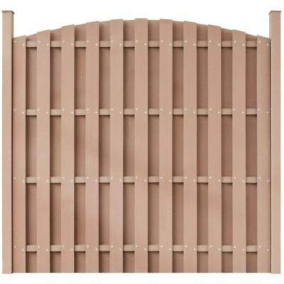vidaXL WPC Fence Panel with 2 Posts 180x(165-180)cm Curved Brown Wall Barrier
