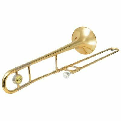 vidaXL Trombone Yellow Brass with Gold Lacquer Bb w/ Carrying Case/Cleaning Set