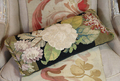 Antique Pillow Victorian Tapestry English Flowers Woolwork