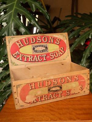 1920s Antique WOODEN ADVERTISING Timber Display BOX Hudson's Soap KITCHENALIA