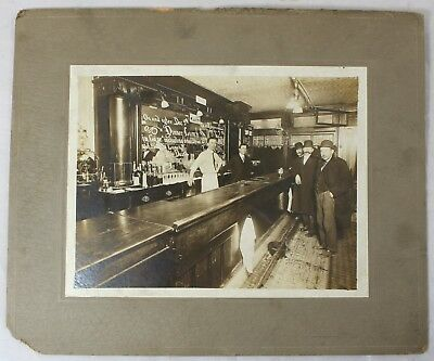 Union Bar Vintage Antique 19th Century Saloon Pub Scene Large Cabinet Photograph