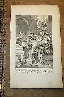 Death of Abraham - Holy Bible Antique Original 1752 Stackhouse Engraved Print