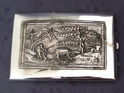 Solid Silver China The South Chinese Silver Case Has Cigarette