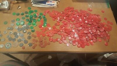 Missouri Sales Tax Tokens Red  Green Plastic Metal cardboard Hundreds Vintage