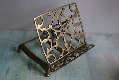 """Vintage Solid Brass Book Stand Holder Easel  9x9x8"""""""