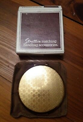 BNIB Stratton Vintage 1970s Gold Floral Powder Compact with all original parts