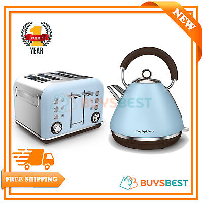 Morphy Richards Accents Special Edition Kettle & 4 Slice Toaster Set Blue