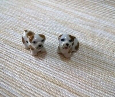 2 Cute Puppy Pug Dogs Miniatures Animals Ceramic Porcelain Collectibles Decor