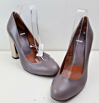 BNWT ZARA LEATHER COURT BLOCK HEEL SHOES UK 7 EU 40 GREY RRP ???79.95 BX10