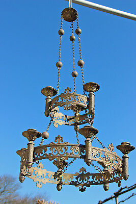 19thc XL Religious french bronze Church  Candle holder Chandelier sanctuary