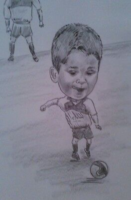 Personalised caricature a footballer whole body and background A4