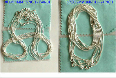 925 sterling solid silver 10PCS 1MM & 5PCS 2MM snake chain necklace 16-24""