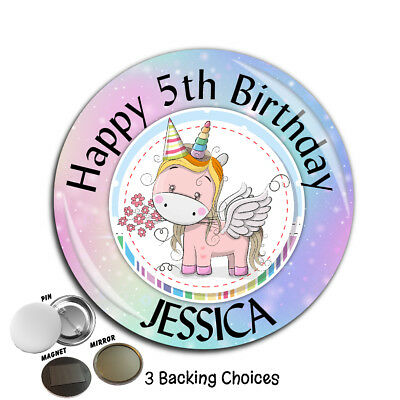Personalised Girls Rainbow Unicorn Happy Birthday Badge Large 75mm N12 ANY AGE