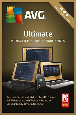 AVG ULTIMATE 2019, Un-limited Multi-Devices 1 Year (LATEST DOWNLOAD VERSION)