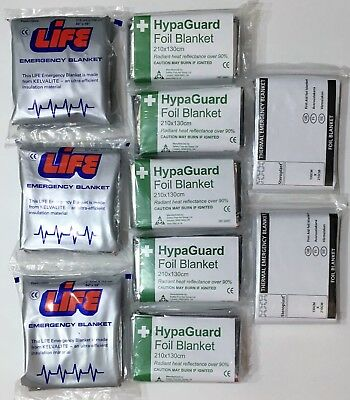 10x Emergency Thermal Silver Foil Survival Blanket First Aid Camping Outdoors CE