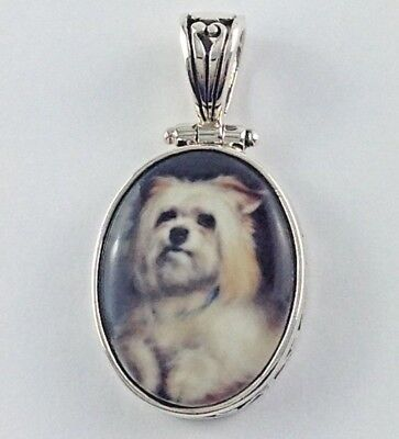 Victorian Inspired Enamel Dog Pendant Filigree Detail 925 Sterling Silver