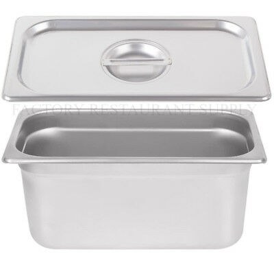 "4 PACK 1/3 Size Stainless Steel w/ LID Steam Buffet Prep Table Food Pan 6"" Deep"