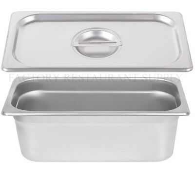 "4 PACK 1/3 Size Stainless Steel w/ LID Steam Buffet Prep Table Food Pan 4"" Deep"