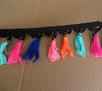Tassel fringe trimming, 7cm width, 3mts of brightly coloured craft dance edging
