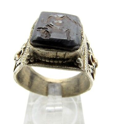 Post Medieval Silver Ring With Carved Intaglio Stone - B657