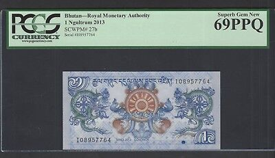 Bhutan One Ngultrum 2013 P27b Uncirculated Grade 69