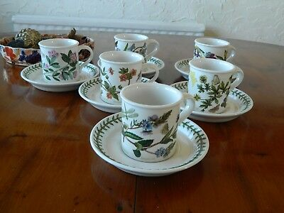 6  Portmeirion Botanic Garden Coffee Cups And Saucers.