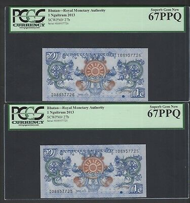 Bhutan 2 Notes One Ngultrum 2013 P27b Uncirculated Grade 67