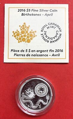 Canada 2016 $5 Birthstones April Silver Coin ONLY 3000 MINTED!
