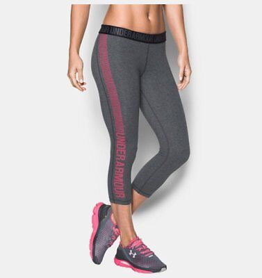 NWT Womens S Under Armour UA Favorite Graphic Fitted Capri Pants Gray S RET$45