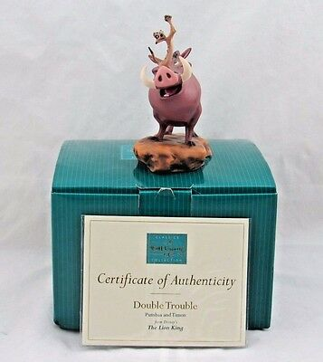 """WDCC """"Double Trouble"""" Pumbaa and Timon from Disney's The Lion King in Box COA"""