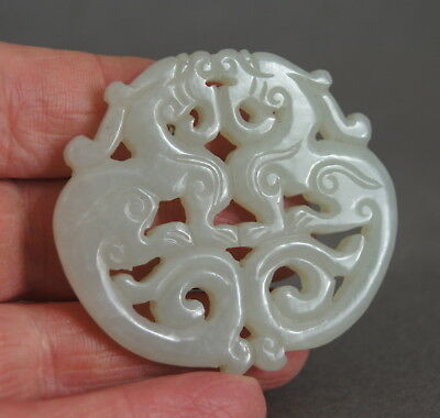 Fine Old Antique Chinese Celadon White Jade Double Dragon Pendant Nr!