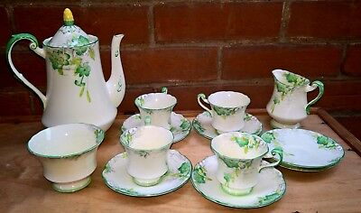 Lovely Art Deco Paragon Part Coffee Service Green & Yellow 13 Pieces