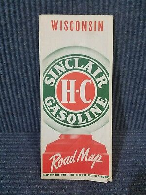 Vintage Wisconsin Road Map, World War II era. Sinclair Gasoline advertising.