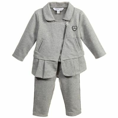 Little Marc Jacobs Girls Grey Tracksuit With Silver Trim 3 Years