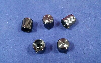 "5 Alco knob KNP-500B 1/4"" shaft  Black  Aluminum Knobs Made in Japan 1/4"""