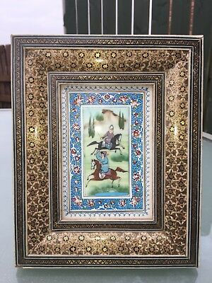 Superb Hand Painted Persian Picture In A Khatam Inlaid Frame
