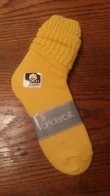 VINTAGE New VANDERBILT Cotton SLOUCH Socks yellow - 1980's