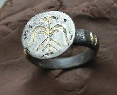 L6 Ancient Medieval Intaglio  Silver Ring Eagle Gold plate  D size=19mm  11.3g
